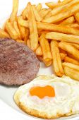 closeup of a combo platter with fried egg, burger and french friest