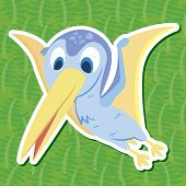 foto of pterodactyl  - A cute color dinosaur with green background - JPG