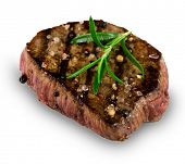 Grilled bbq steak on white background