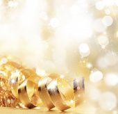 stock photo of flute  - Golden christmas ribbon - JPG