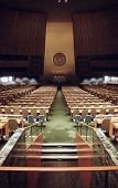 NEW YORK, NY - DEC 10:  Interior of the General Assembly Hall at the United Nations headquarters on