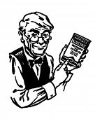 Grocery Clerk With Product - Retro Clipart Illustration