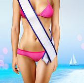 woman's shape with white tape of beauty contest