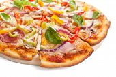stock photo of take out pizza  - delicious ham - JPG