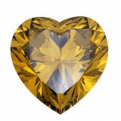 Heart shaped Diamond isolated on a white background. citrine