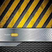 stock photo of safety barrier  - Metal warning stripes vector background - JPG
