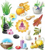 stock photo of ayurveda  - Set of spa treatment symbols - JPG