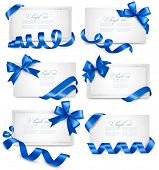 Set of gift card notes with blue bows with ribbons Vector