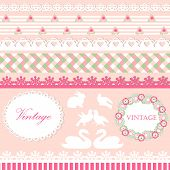 Set of cute scrapbook elements in pink and green pastel colors