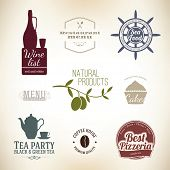 Vintage label set for restaurant and cafe