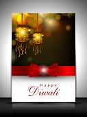 stock photo of diwali lamp  - Greeting card with hanging lamp for Diwali festival in India - JPG