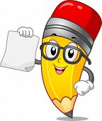 pic of bookworm  - Mascot Illustration of a Pencil Holding a Blank Piece of Paper - JPG