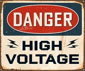 Vintage Metal Sign - Danger High Voltage - Vector EPS10. Grunge effects can be easily removed for a