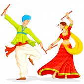 image of navratri  - illustration of couple playing dandiya on white background - JPG