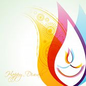 image of diya  - beautiful creative vector colorful happy diwali background - JPG
