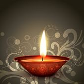 image of diya  - stylish indian festival diwali diya on dark background - JPG