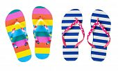 Colorful flip flops isolated on white