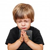 stock photo of evangelism  - Little boy praying with the Bible in hand - JPG
