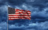 pic of flag pole  - Majestic United States Flag against a dark background - JPG