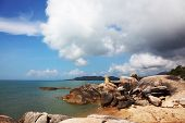 Coastal rocks of the surprising, freakish form. Koh Samui, Thailand