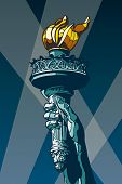 Liberty Torch. USA landmark and symbol of Freedom and Democracy. Vector format EPS 8, CMYK.