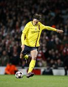 LONDON, ENGLAND. 31/03/2010. Barcelona player Zlatan Ibrahimovic in action during the  UEFA Champion