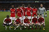 LONDON, ENGLAND. 31/03/2010.  Arsenal team before the  UEFA Champions League quarter-final between A