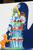 LOS ANGELES - JUL 28:  Smurfs 2 cake by Charm City Cakes arrives at the
