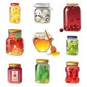 9 iconos de frutas y verduras enlatados
