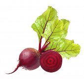 picture of root vegetables  - Beetroot with leaves isolated on white - JPG
