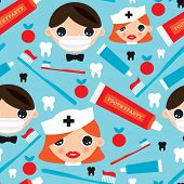 Seamless dental icon dentist illustration background pattern in vector