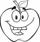 Outlined Smiling Apple Cartoon Mascot Character