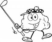 Outlined Smiling Brain Character Swinging A Golf Club
