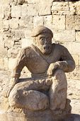 Famous sculpture in entrance of Maiden Tower, Baku, Azerbaijan.