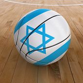 picture of israeli flag  - 3D basket ball with Israeli flag on basketball court - JPG