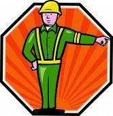 Emergency Worker Pointing Side Cartoon