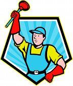 Super Plumber Wielding Plunger Pentagon Cartoon