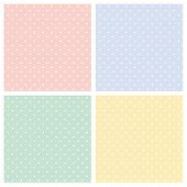 stock photo of country girl  - Vector set of sweet seamless patterns or textures with white polka dots on pastel - JPG