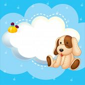 Illustration of a blue stationery template with a puppy