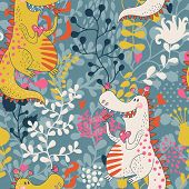 Cute seamless pattern with funny dragons in love with little birds. Vector floral texture with dinos