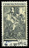 Czechoslovakia - Circa 1982: A Stamp Printed In Czechoslovakia, Shows Musicians In A Hostel, By Remb