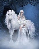 stock photo of unicorn  - Fantasy scene with a white unicorn and a beautiful fairy in a white dress - JPG