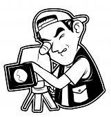 black and white clipart videographer
