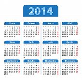 stock photo of weekdays  - Blue glossy calendar for 2014 in Spanish - JPG