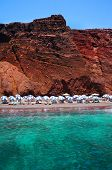 Seascape And Red Beach Of Santorini Island, Greece