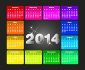 Colorful Calendar For 2014. Week Starts On Sunday