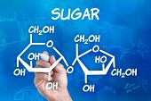 hand with pen drawing the chemical formula of sugar