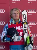 VAL D'ISERE FRANCE. 11-12-2010. LIGETY Ted (USA) is the winner of during the prize giving ceremony f