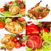 Collage Of Photos Grilled Chicken With Vegetables