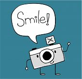 cute camera smile vector